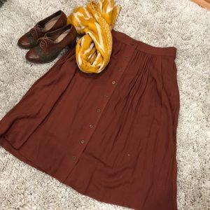 Rust a-line skirt